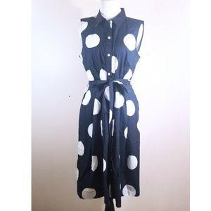 NWT Talbots Blue & White Polka Dot Dress